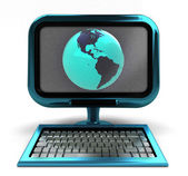 Blue metallic computer with America globe on screen isolated — Stock Photo