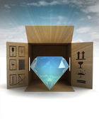Luxurious diamond product safety delivery with sky flare — Stock Photo