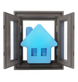 Isolated opened window to your new house property — Stock Photo
