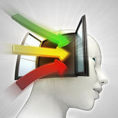 Three colored way arrows coming in human head through window as knowledge concept — Stock Photo