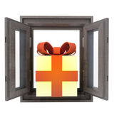 Isolated opened window with gift surprise in the middle — Stock Photo