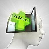 Gezondheidszorg afkomstig is uit of in menselijk hoofd via venster concept — Stockfoto