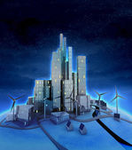 Windmills and modern cityscape general night view — 图库照片