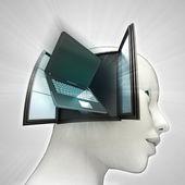 Laptop technologieën die binnenkort uit of in menselijk hoofd via venster concept — Stockfoto
