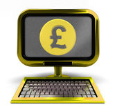Golden computer with Pound coin on screen concept isolated — Stock Photo