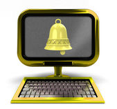 Golden metallic computer with yellow bell on screen isolated — Stock Photo