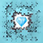 Blue puzzle jigsaw with pure diamond revelation — Foto Stock