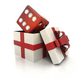 Mysterious magic gift with lucky red dice inside render — Stock Photo