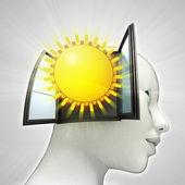 Glanzende zomerzon afkomstig is uit of in menselijk hoofd via venster concept — Stockfoto