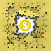 Yellow puzzle jigsaw with Dollar coin idea revelation — Stock Photo