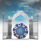 Lucky casino bet with heavenly gate with sky flare — Foto de Stock