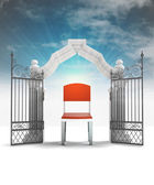 Free seat on chair and heavenly gate with sky flare — Stock Photo