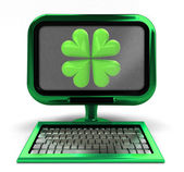 Green metallic computer with lucky cloverleaf on screen concept isolated — Stock Photo