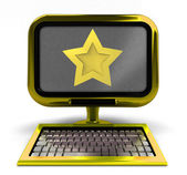 Golden metallic computer top star rated concept isolated — Stock Photo