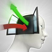 Green red knowledge transfer arrows coming in and out of human head concept — Stock Photo