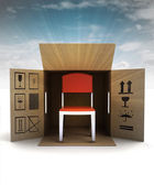 New modern chair product delivery with sky flare — Stok fotoğraf