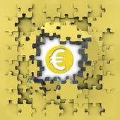 Yellow puzzle jigsaw with Euro coin idea revelation — Stock Photo