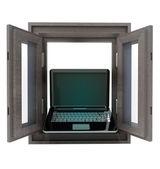 Isolated opened window to laptop communication — Stock Photo
