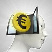 Investeringen uit het eurogebied munt afkomstig is uit of in menselijk hoofd via venster concept — Stockfoto