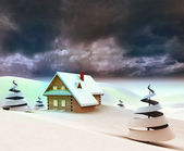 Lonely mountain cottage dark sky evening — Stock Photo