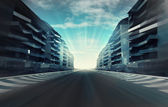 Race circuit in business city in evening motion blur wallpaper — Stock Photo