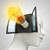Gele stralende lamp uitvinding afkomstig is uit of in menselijk hoofd via venster concept — Stockfoto
