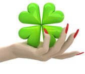 Isolated green lucky cloverleaf in women hand render — Stock Photo