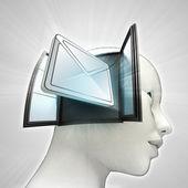 Belangrijk e-mailbericht afkomstig is uit of in menselijk hoofd via venster concept — Stockfoto