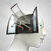 Shopping cart drive out or in human head through window concept — Stock Photo
