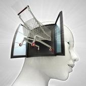 Winkelen kar station uit of in menselijk hoofd via venster concept — Stockfoto