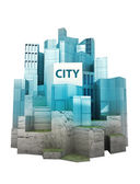 Isolated modern city island with blue glass reflections render — Stock Photo