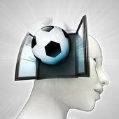 Voetbal sport afkomstig uit of in menselijk hoofd via venster concept — Stockfoto