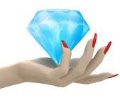 Isolated big pure diamond in women hand render — Stock Photo
