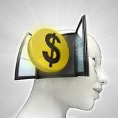 Dollar munt investeringen afkomstig is uit of in menselijk hoofd via venster concept — Stockfoto