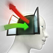 Green red idea transfer arrows coming in and out of human head concept — Stok fotoğraf