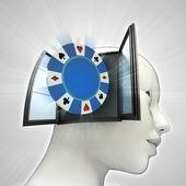 Bet pokerspel komt uit of in menselijk hoofd via venster concept — Stockfoto