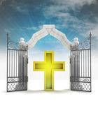 Divine golden cross in heavenly gate with sky flare — Stock Photo