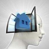 Thuis wonen afkomstig is uit of in menselijk hoofd via venster concept — Stockfoto
