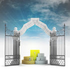 Divine champion podium in heavenly gate with sky flare — Photo