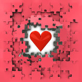 Red puzzle jigsaw with heart love revelation — Stock Photo