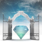 Divine diamond in heavenly gate with sky flare — Stock fotografie