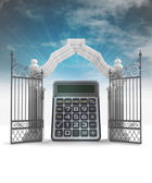 Business results blessing in heavenly gate with sky flare — Stock Photo