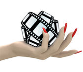 Isolated movie tape in women hand render — Stock Photo