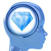 Blue human head with brain cloud with pure diamond inside — Stock fotografie