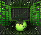 Business positive graph forecast or results in asian countries — Stock Photo