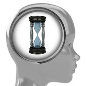 Metallic human head with brain cloud sandglass inside — Stock Photo