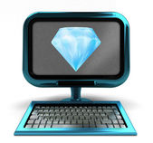 Blue metallic computer with pure diamond on screen concept isolated — Stock Photo