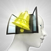 Golden bell alarm coming out or in human head through window concept — Foto Stock