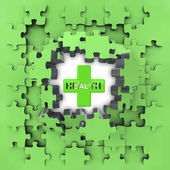 Green puzzle jigsaw with health cross revelation — Stockfoto