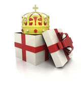 Mysterious magic gift with royal crown inside render — Foto Stock